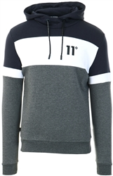 11degrees Charcoal / Navy / White Colour Block Pullover Hoodie