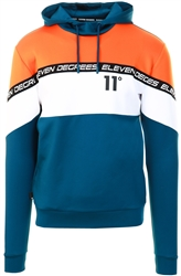 11degrees Blue/White/Orange Cut And Sew Colour Block Poly Track Top With Hood