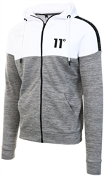 11degrees Concrete Marl/White Taped Block Hooded Poly Track Top