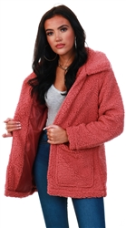 Brave Soul Rosewood Heavenly Fur Jacket