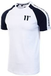 11degrees White / Navy Raglan Block T-Shirt