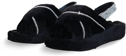 Public Desire Black Baby Girl Fluffy Strap Back Sliders