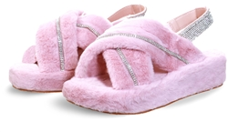 Public Desire Baby Pink Baby Girl Fluffy Strap Back Sliders