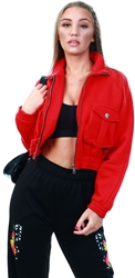 Vivichi Red Linda Utility Pocket Thick Cropped Jacket
