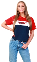 White / Multi Colour-Blocked Stripe Cropped Fit T-Shirt by Tommy Jeans