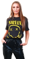 Amplified Charcoal Nirvana Smiley Face Print T-Shirt