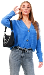 Brave Soul Blue Knitted Cardigan