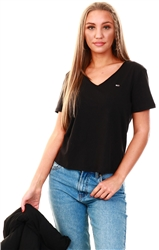 Black Organic Cotton Slim Fit V-Neck T-Shirt by Tommy Jeans