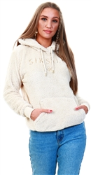 Siksilk Cream Borg Fleece Overhead Hood