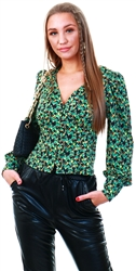 Glamorous Green Abstract Ditsy Floral Long Sleeve Top