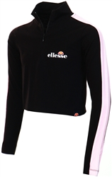 Ellesse Black Ursolini Zip Crop T-Shirt