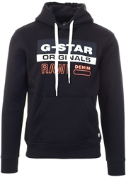 Gstar Black Colorblock Originals Logo Hoodie