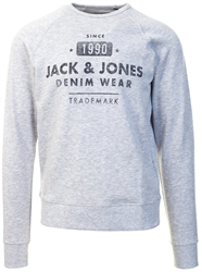 White Melange Jeans Washed Sweat Crew Neck by Jack & Jones