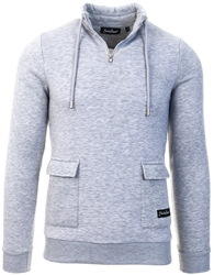 Shadow Project Grey Marl Funnel Neck Sweat