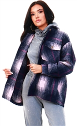 Pieces Navy / Pink Checked Jacket