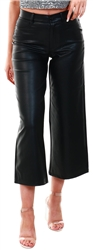 Only Black / Black Onlmadison Hw Wide Faux Leather Cropped Trousers