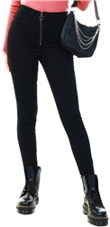 Noisy May Black / Black Denim Nmcallie High Waisted Zip Skinny Fit Jeans