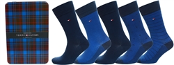 Tommy Jeans Dark Navy 5-Pack Men's Bird's Eye Print Socks