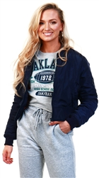 Vivichi Navy Meg Pull-Ring Zip-Up Bomber Jacket