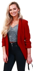 Biking Red /Red Long Classic Blazer by Pieces