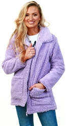 Brave Soul Lilac Heavenly Fur Zip Jacket