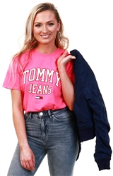 Tommy Jeans Glamour Pink Dwo9075 2gq Organic Cotton Boyfriend Fit Collegiat