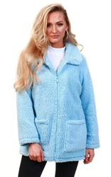 Brave Soul Pale Blue Heavenly Fur Zip Jacket
