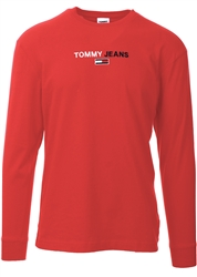 Tommy Jeans Deep Crimson Long Sleeve  Logo T-Shirt