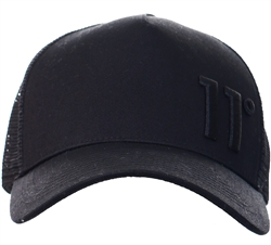 11degrees Black Trucker Cap - Black Out