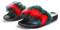 Truffle Green, Red, Black Faux Fur Slider