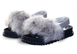 Truffle Grey Fur Sliders