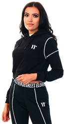 11degrees Black Cropped Contrast Coverstitch Pullover Hoodie