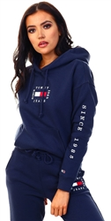 Tommy Jeans Twilight Navy Cropped Box Flag Hoodie