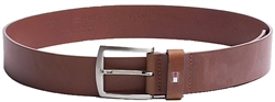 Tommy Jeans Dark Tan Denton Rounded Buckle Leather Belt