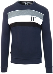 11degrees Navy Mercury Mesh Print Cut And Sew Sweatshirt