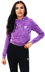 11degrees Purple Cropped Acid Wash Pullover Hoodie