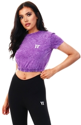 11degrees Purple Acid Wash Cropped T-Shirt
