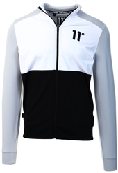 11degrees Black / White / Grey Cut And Sew Full Zip Track Top