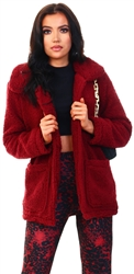 Brave Soul Wine Heavenly Fur Jacket