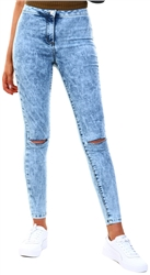 Parisian Acid Blue High Waisted Ripped Knee Jeggings