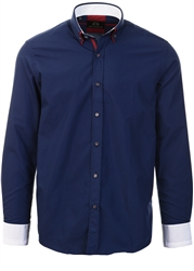 Silvio Valentin Navy Button Up Pattern Shirt