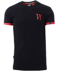 11degrees Black/Red Geo Camo Logo T-Shirt