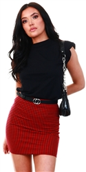 Missi London Red / Black Houndstooth Mini Skirt