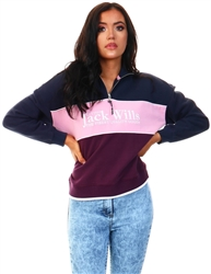 Jack Wills Navy / Pink / Purple Esther Half Zip Sweater
