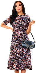 Missi London Floral Print Pattern Midi Dress