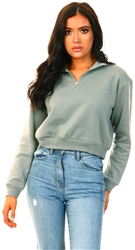 Brave Soul Sage Half Zip Crop Sweater