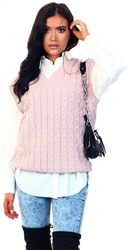 Ax Paris Pink Cable Knit Tank Top