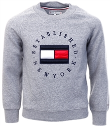 Tommy Jeans Mid Grey Htr Junior Flag Logo Crew Neck Sweatshirt