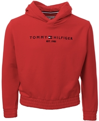 Tommy Jeans Deep Crimson Essential Logo Embroidery Fleece Hoody