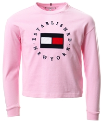 Tommy Jeans Romantic Pink Junior Flag Logo Long Sleeve T-Shirt